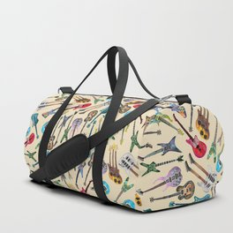 Electric Guitars Pattern Watercolor Duffle Bag
