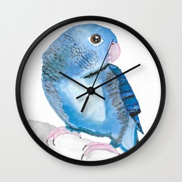 Watercolour Lineolated Parakeet Wall Clock