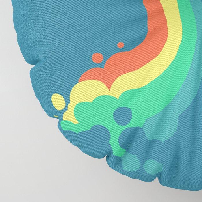 Fat Unicorn on Rainbow Jetpack Floor Pillow