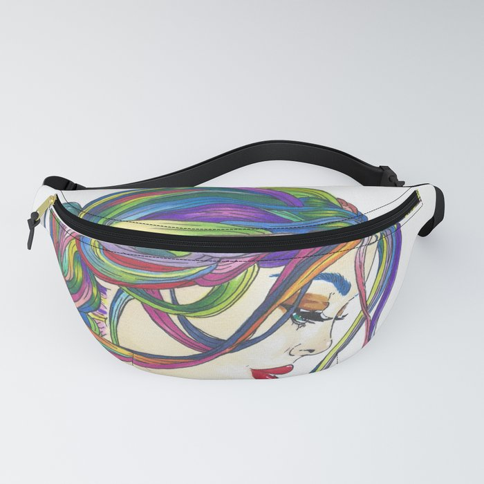 Rainbow Love and Blue Roses Fanny Pack