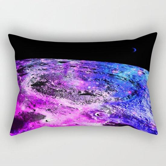 Purple Blue Galaxy Moon Rectangular Pillow