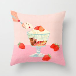 Strawberry Ice Cream Throw Pillow