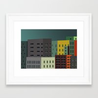buildings Framed Art Prints featuring Buildings by The Red Umbrella Shop