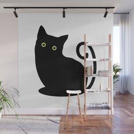 Black cat looking you #society6 #decor #buyart #artprint Wall Mural