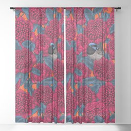 Red waratah and fairy wrens Sheer Curtain