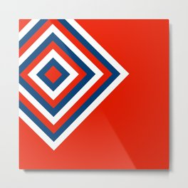 Retro Diamonds Pop Art - Red White & Blue Metal Print