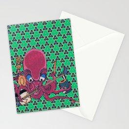 Kuniyoshi Musical Octopus with Bishamon Kikko Background Stationery Cards
