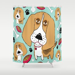 Beafus The Bad Boy Beagle Shower Curtain