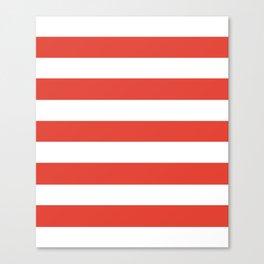 Vermilion - solid color - white stripes pattern Canvas Print