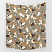 beagle Wall Tapestries featuring beagle scatter stone by Sharon Turner