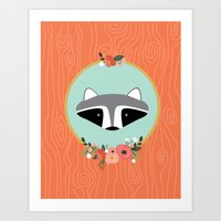 racoon Art Prints featuring Racoon by MiniMoons
