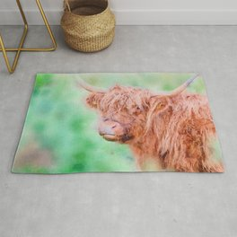Highland cow close up watercolor Rug