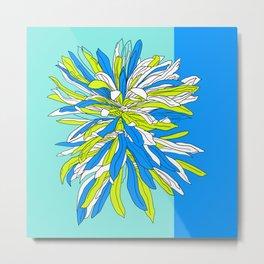 Colorful bold flourescent vibrant floral design blue version Metal Print