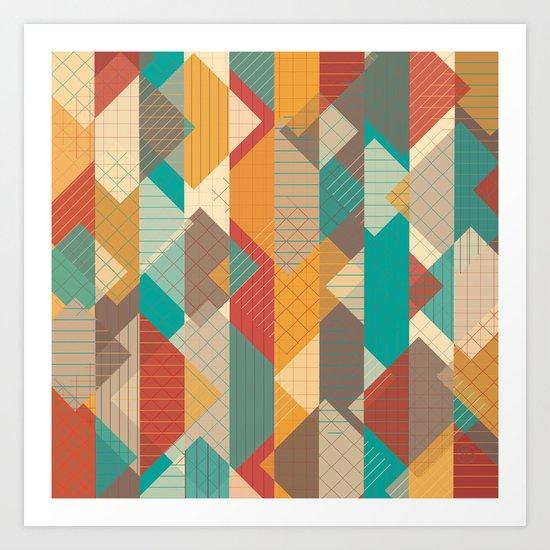 Geometric Geek Pattern - Squares, Stripes, Grids Art Print