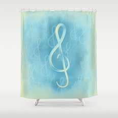 Treble Clef with the BLues Shower Curtain
