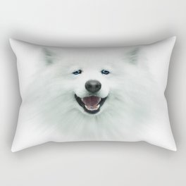 White dog, puppy, 3d, big face, kids Rectangular Pillow