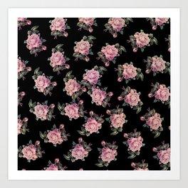 Pink Roses Dark Floral Pattern Art Print