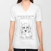 puppy V-neck T-shirts featuring Puppy by Juliê Caroline