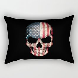 American Flag Skull on Black Rectangular Pillow