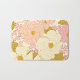 Pink Pastel Vintage Floral Pattern Bath Mat