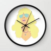 stevie nicks Wall Clocks featuring Stevie Nicks of Fleetwood Mac by The Lounge Lizard