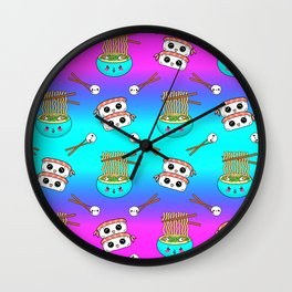 Cute funny Kawaii chibi little blue bowl ramen noodles, happy cheerful sushi with shrimp on top, rice balls and chopsticks rainbow blue pink pattern design. Nursery decor. Wall Clock