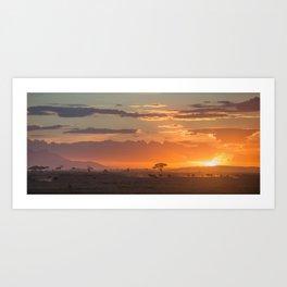 Amboseli's sunset. Kenya. Art Print