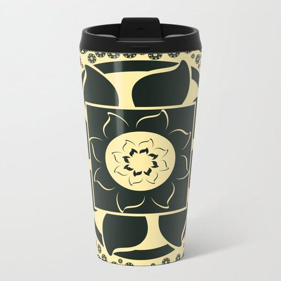 Black flower Metal Travel Mug