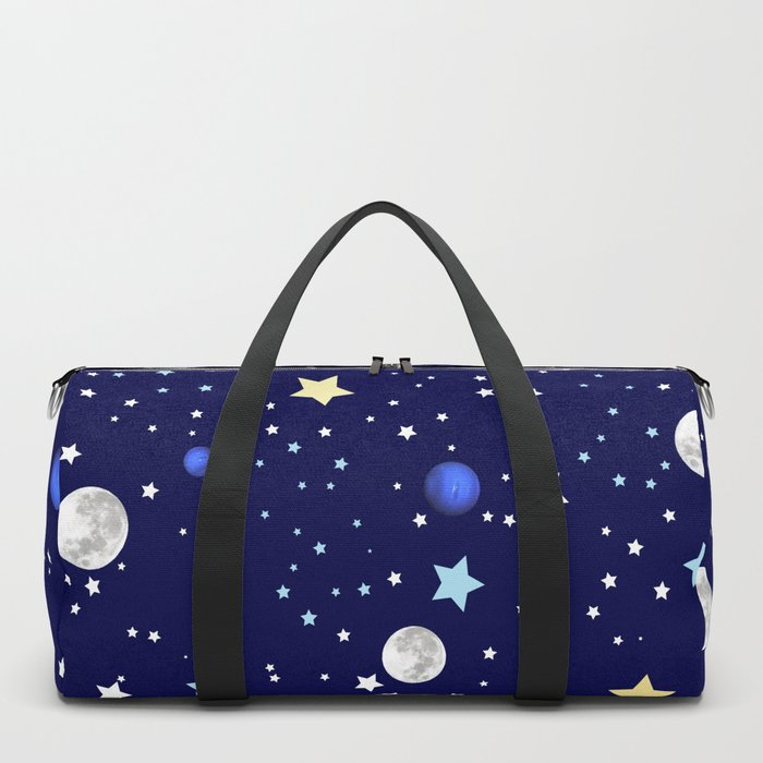 Universe pattern; Moon, Stars and Neptune Duffle Bag