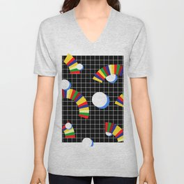 Memphis Grid & Rainbows Unisex V-Neck