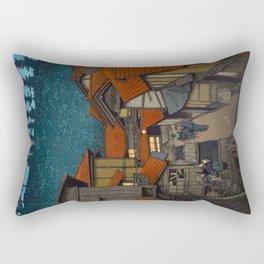 Vintage Japanese Woodblock Print Village At Night Feudal Japan Rectangular Pillow