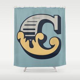 'The letter C' Design Motif Shower Curtain
