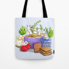 Tea Time With Bunnies Tote Bag