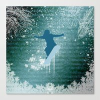 snowboarding Canvas Prints featuring Snowboarding by nicky2342