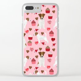 Jack Russell Terrier valentines day cupcakes and hearts love pattern gifts for dog lovers Clear iPhone Case