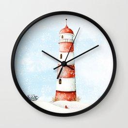 Winter Lighthouse Wall Clock