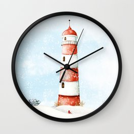 Winter Lighthouse Wall Clock