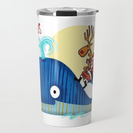 SANTA CLAUS LOVES WHALES Travel Mug