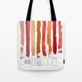 Lipstick Stripes - Red Orange Gold Tote Bag