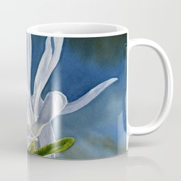 White Star Magnolia Flower with Blue Gray Background Coffee Mug