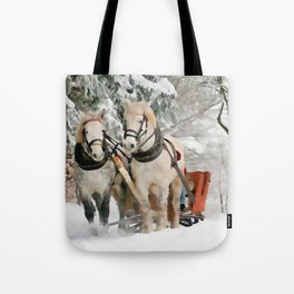Winter Sleigh Ride Tote Bag