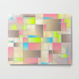 Abstract Retro Pastel Metal Print