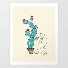 cat cactus cattus Art Print