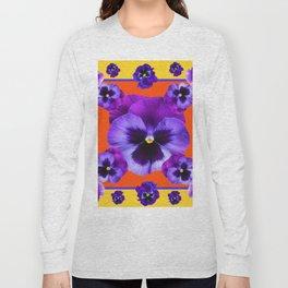 YELLOW-SAFFRON PURPLE PANSIES GARDEN  PATTERN MODERN ART Long Sleeve T-shirt