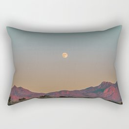 Sunset Moon Ridge // Grainy Red Mountain Range Desert Landscape Photography Yellow Fullmoon Blue Sky Rectangular Pillow