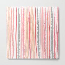 Orange Pink Grey Textured Stripes Metal Print