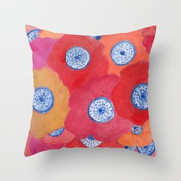 Hippy flowers watercolor Throw Pillow