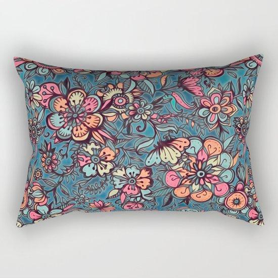 Sweet Spring Floral - melon pink, butterscotch & teal Rectangular Pillow