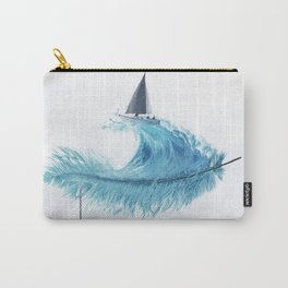 Water Feather • Blue Feather (horizontal) Carry-All Pouch