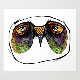 The Owl with the Crosshatched Bags Art Print